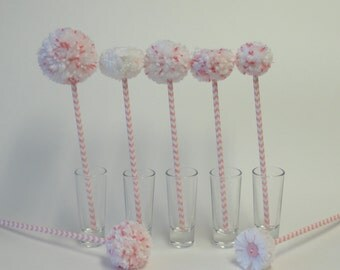 Pom Pom Flowers - Pink and White - Simple Decor - Baby Nursery/Girl's Room Decor - Baby Shower Centerpiece - Baby Girl Gift - Expecting Moms