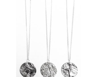 """Full Moon Reticulated Silver Necklace Short 18"""" Chain - Handmade Sterling Circle Texture Planet Mountain Small Medium Disc Pendant"""