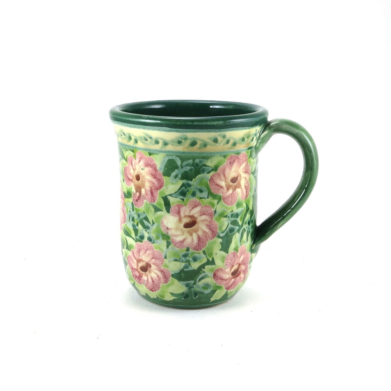Stoneware Mug Unique Coffee Mug New Green Color Handmade