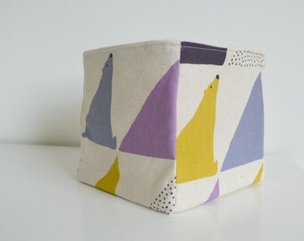 Fabric Basket - Geometric Polar Bears in Purple, Lilac + Yellow on Natural