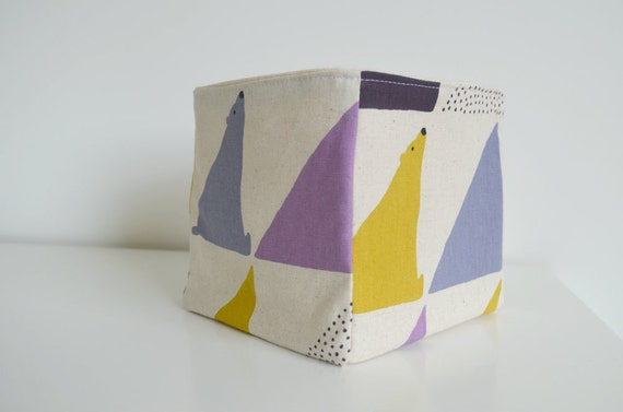 Fabric Basket - Geometric Polar Bears in Purple, Lilac + Yellow on Natural