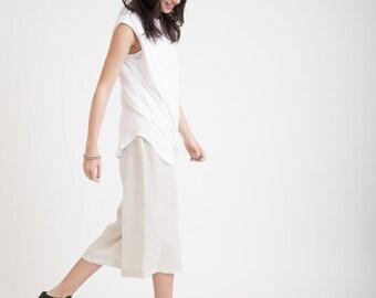 Cropped Pants / Culottes / Wide Linen Capri Pants / Oversized Pants / Loose Fitting Pants / Marcellamoda - MP0253