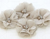 "4 pcs Aubrey SAND / KHAKI - 2"" inch Soft Wrinkled Chiffon pearls and rhinestones Puffy Small Natural Fabric Flowers, DIY Hair accessories"