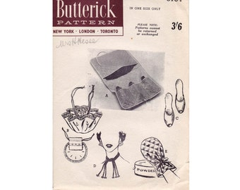 HALF PRICE Clearance 50s Bags Scuff Slippers Accessories Pattern Butterick 6764 Vintage Sewing Pattern UNUSED Factory Folded