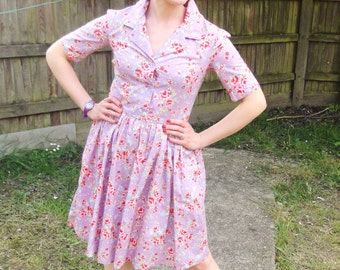 1940s style floral print shirt dress with fukll skirt in a variety of colours