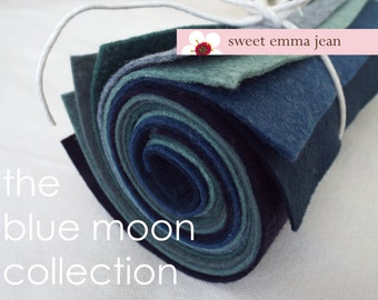 The Blue Moon Collection - 8 Sheets of Felt - 9x12 Wool Felt Sheets