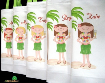 Hawaiian bridesmaids Aloha beach girl canvas beach tote bags hawaii wedding bridal shower beach wedding favors destination personalized
