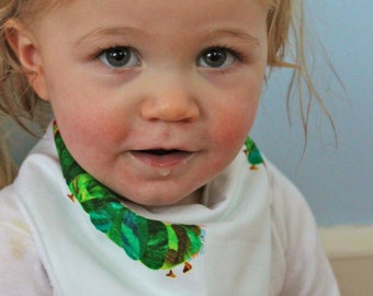 Very Hungry Caterpillar Bandana Bib | Baby Bib | Minky Backing | Drool Bib | Baby Shower Gift