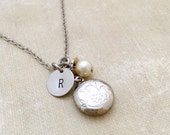 Dainty Locket Necklace, Initial Necklace, Best friend Gift, Best friend Necklace, Gift Ideas, Handmade Necklace