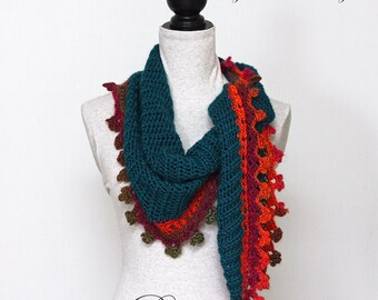 Triangle Scarf CROCHET PATTERN, Baktus Scarf, Elongated Triangle, Shawlette, PDF, Made in Canada