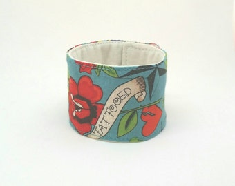 Cuff Bracelet Adjustable Fabric Band - Tattoo