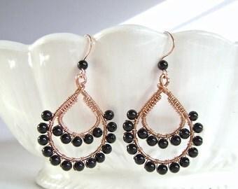 Onyx Earrings, Copper, Wire Wrapped, Double Teardrop Earrings, Byzantine, Moroccan, Egyptian Style, 873