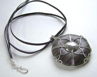 Viking Shield Pendant Necklace, Leather, Wire Wrapped, Silver, Striped Jasper, Woven Cross, 941