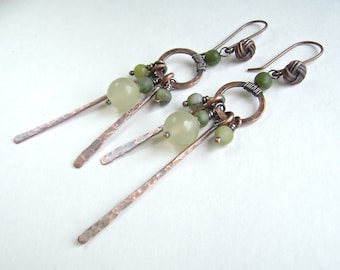 Copper Stick Earrings, Green Serpentine, Cluster, Hammered, Oxidized Copper, Artisan Jewelry, Handmade 937