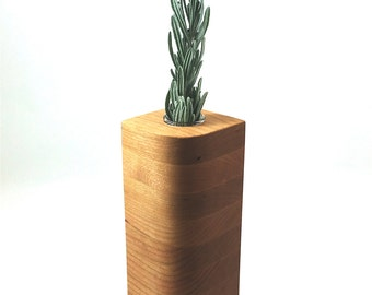 Cherry Wood Vase in Leaf Style -  Wedding Gift, 5th Anniversary Gift, House Warming Gift