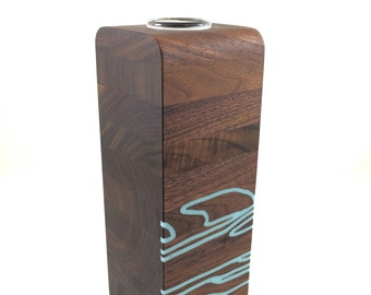 Medium Walnut Wood Vase with Sky Inlay in the Slice Style - 5th Anniversary Gift, Wedding Gft  or Housewarming Gift.