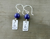 Anchors Away, Sterling Silver Anchors with Dark Blue Lapis on Sterling Silver Hand Made Ear Wires