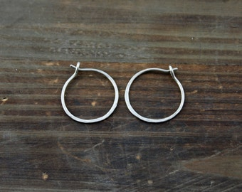 14k Gold Hoops - White or Yellow Gold Hoop Earrings - Hand Forged Hoop Earrings - Fine Jewelry - Solid Gold Hoops - Large Hoop Earrings