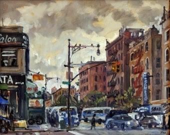 Dusk on 207th Street, NYC. 16x20 Oil Painting on Canvas, New York City Urban Impressionist Painting, Signed Original Realist Fine Art