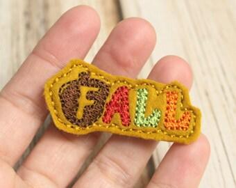 Fall Hair Clip, Felt Hair Clippie, Machine Embroidered, Alligator Clip, Non Slip, Ready to Ship