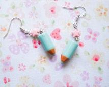 Pencil Crayon Earrings, Kawaii Earrings, Cute Earrings, Pencil Earrings, Crayon Earrings, Punk Rock Earrings, Fun Earrings, Cute Gift Idea