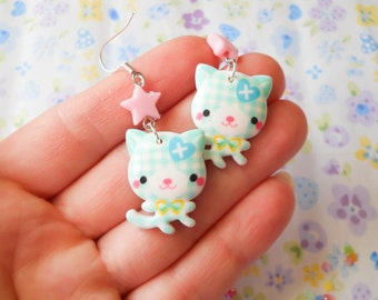 Kitty Earrings, Cat Earrings, Kawaii Earrings, Lolita Earrings, Cute Earrings, Plaid Earrings, Kawaii Kei, Girls Gift, Kawaii Accessories