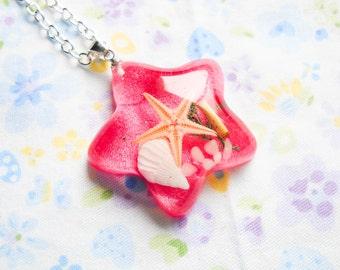 Real Starfish Necklace, Starfish Pendant, Beach Necklace, Ocean Necklace, Sea Necklace, Resin Necklace, Pretty Necklace, Sea Pendant