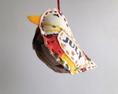 Bird Ornament - July - Repurposed Vintage Calendar Tea Towel - Hand Embroidered