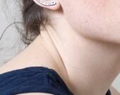 Oxidized Silver Ear Crawlers. Tusk Ear Cuff. Hammered Ear Bar.