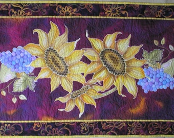 Quilted Sunflower Wall Hanging Beaded Table Runner Hand Painted Quiltsy Handmade