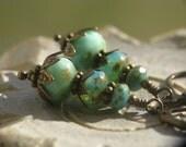 Atlantis Earrings - Seafoam Green Czech Glass Beads and Antiqued Brass