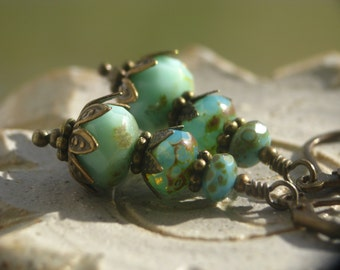 Atlantis Earrings - Seafoam Green Czech Glass Beads and Antiqued Brass