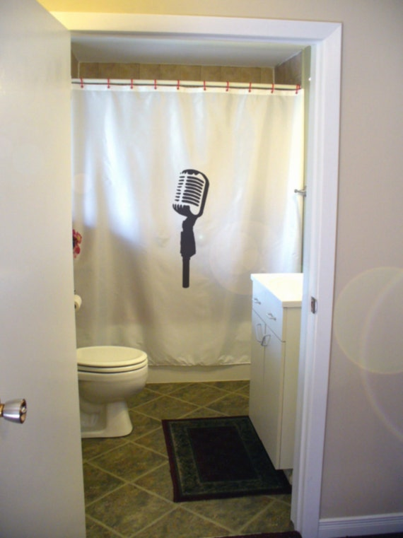 classic microphone Shower Curtain old mike age of jazz style class throwback bathroom decor bath curtains custom size long wide waterproof