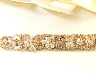 SALE Bridal sash Ivory Gold Beaded sash, Exclusively handcrafted Wedding