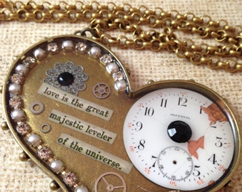 Large Studded Heart with Antique Watch and Quote Steampunk Necklace