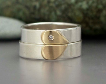 Heart Wedding Band Set in 14k Gold and Sterling Silver with White Sapphire - One Love