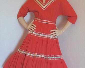 Vintage 1950s Patio Dress / 50s Squaw Dress with Full Circle Skirt /  Coral Salmon Squaw Dress Silver Trim / Gauze Cotton Squaw Patio Dress