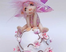 Fairy fae Cherry on a globe cherryblossom troll gnome faerie miniature fantasy sculpture ooak art doll