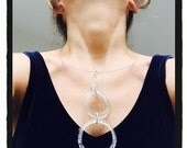 3 Clear Rings necklace - Silver and eco glass