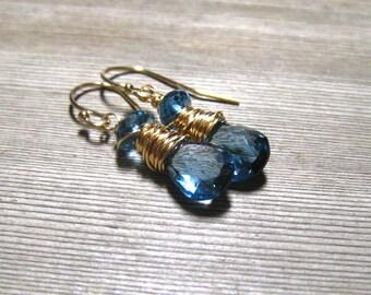 Blue Topaz Earrings, 14K Gold Filled,  AAA London Blue Topaz, December Birthstone Jewelry, Blue Drop Earrings,  Handmade Jewellery