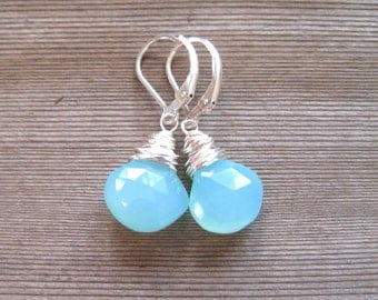 Aqua Blue Chalcedony Earrings,  Wire Wrapped, Sterling Silver,  Light Blue Dangle Earrings, Natural Stone