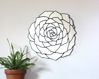 Succulent Flower Wall Mirror Organic Round Oval Handmade Wall Mirror Plant Wall Art