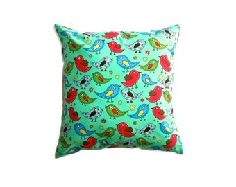"""Patchwork Birds Cushion Cover Bright Print Cotton 14"""" 35cm Pillow Case Mint Green Red Blue Yellow Nursery Home Decor Living Gift Ideas Kids"""