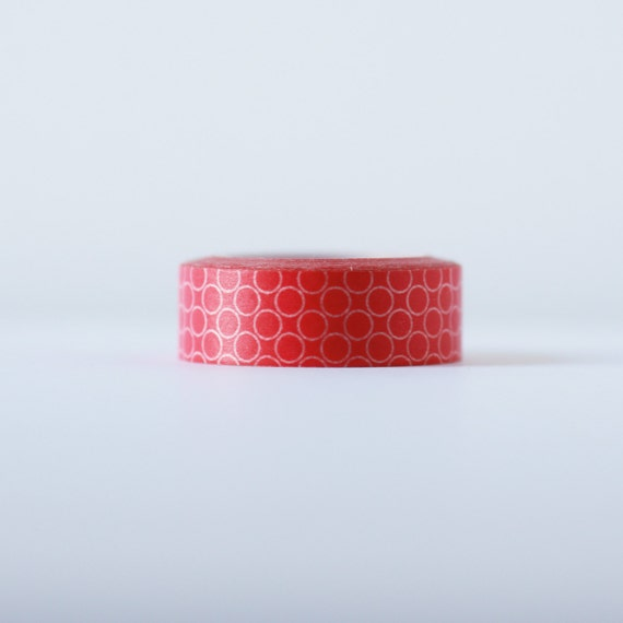 Pink Cirlces Washi Tape-  Single Roll 15 mm x 10 m