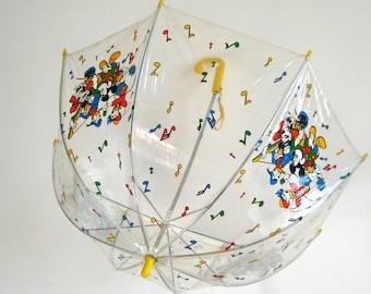 Vintage Rock & Roll Disney Gang Clear Plastic Umbrella // 1980s