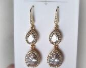 Gold Crystal Earrings, Cubic Zirconia Bridal Earrings, Rhinestone Earrings, Dangle,Teardrop - MILA