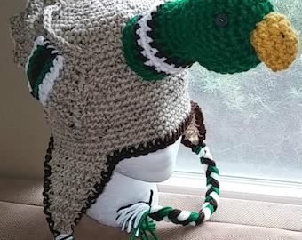 Crochet Mallard Duck Hat