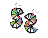Geometric Earrings, Rainbow Triangle Chevron Earrings, Water Color Painted Leather Jewelry, Colorful Geometric Jewelry