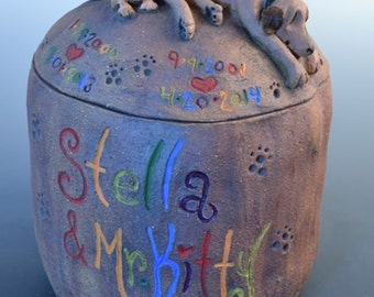 Dog and Cat Pet Urn- Custom Urn for One Dog and One Cat or Any Two Animals, Best Friends Urn