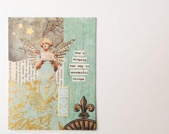 Handmade Greeting Card - vintage inspired - graduation, celebration, new job, congratulations, birthday